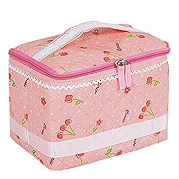 a813805201 Brendacosmetic PINK Cute Fashionable Cherry Polka Dot Bow Lace Cosmetic Bag