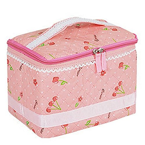 Brendacosmetic PINK Cute Fashionable Cherry Polka Dot Bow Lace Cosmetic Bag,Lovely Portable Essential Travek Makeup Train Case Bag Tote for Organizing & - Home Uk Shopping Next