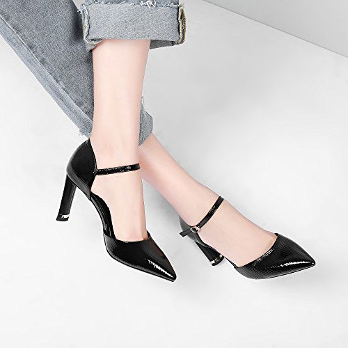 Court Women Ankle Pointy Leather Sandals Black Sandals Heels Sexy Ladies Pumps High Dress Summer Black Strap Shoes Red Prwx8PqS