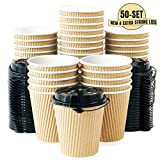 Kitchen & Housewares : 12 OZ Triple Walled Disposable Coffee Cups with Lids 50 Set, No Sleeves Needed, Ripple Insulated To Go Coffee Cups and Multipurpose Lids for Hot Beverage. Eco-Friendly Reusable Paper Cups