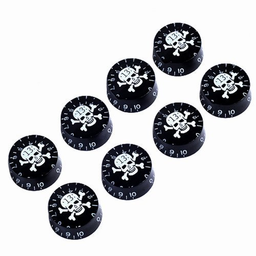 8pcs Speed Control Knobs with Skull Logo Black for Gibson Les Paul Replacement
