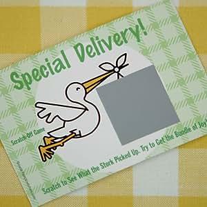 special delivery scratch off baby shower game 20 cards per pack toys games. Black Bedroom Furniture Sets. Home Design Ideas
