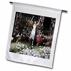 WhiteOak Art Designs Fairy Prints - Fairy with a Silver Dress - 18 x 27 inch Garden Flag (fl_47989_2)