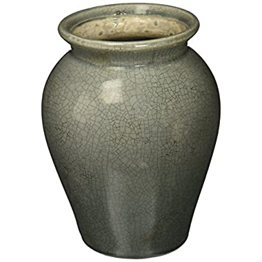 Hosley's 8  High Blue Crackle Finish Ceramic, Floor Vase. Ideal GIFT for Party, Wedding, Home, Study, Spa