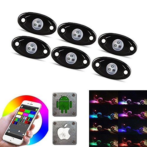 LED Rock Light Kits with 6/8 Pods RGB Lights for for Trucks, Jeeps, SUV, ATV - Offroad, Crawling, Climbing Waterproof, SoundSync, Bluetooth App Controls Lamp Waterproof (6 ()