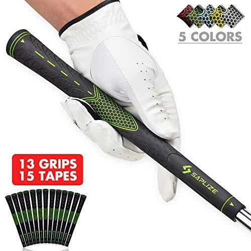 Golf Club Grip Replacement - SAPLIZE Golf Grips (13 Grips + 15 Tapes Bundle), Rubber Golf Club Grips, Standard Size, Green, CC01 Series