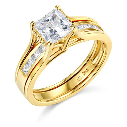(TWJC 14k Yellow Gold SOLID Princess Square Engagement Ring & Wedding Band Set - Size)