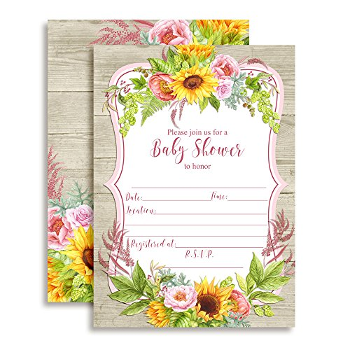 "Watercolor Sunflower & Peony Floral Spring Baby Shower Invitations, 20 5""x7"" Fill in Cards with Twenty White Envelopes by AmandaCreation"