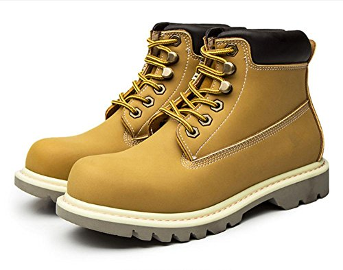 NVXIE Women's Ankle Boots Low Heel Lace-up Leather Shoes Locomotive Autumn Spring Real British Style Leisure Outdoor YELLOW-EUR38UK55 zjdBpknWHi
