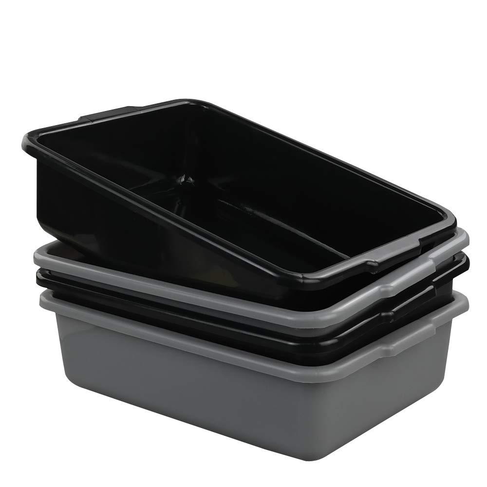 DynkoNA 8 Liter Plastic Bus Tub Set of 4, Black Grey Bus Box, Small Rectangle Plastic Dish Pans