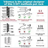 Vdomus Pot Rack Organizer with 3 DIY Methods, Black Metal Kitchen 8+ Pots Holder, Height and Position are Adjustable Cabinet Pantry Pot Lid Holder