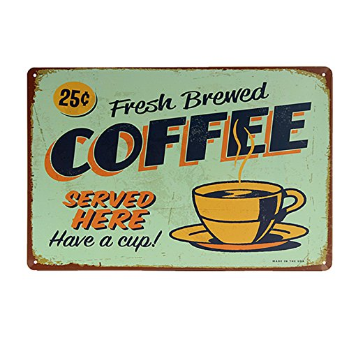 MagiDeal COFFEE Vintage Tin Sign Bar Pub Cafe Wall Decor Retro Metal ART Poster - 02, One (Vintage Coffee Signs)