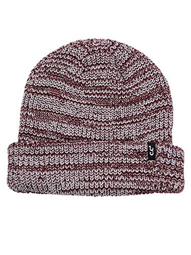 (C.C Men's Two Way Cuff and Slouch Two Tone Knit Skull Cap Beanie Hat, Brown Mix)