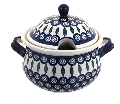 Stoneware Soup Tureen - Polish Pottery Peacock Soup Tureen