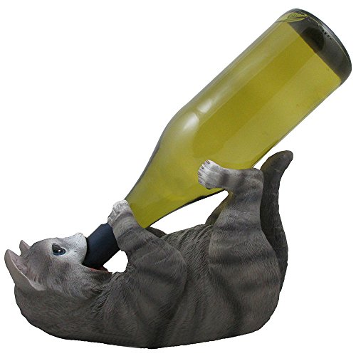 Funny Gray Kitty Cat Wine Bottle Holder Sculpture for Unique Tabletop Wine Racks & Stands or Feline Statues and Animal Figurines As Holiday Gifts for Pet Owners (Wine As Gift)