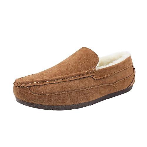 Yudesun Zapatos Mocasines Hombre - Hombres Interior Aire Libre Zapatos Antideslizante Goma Suela Nieve Barco Cubierta Cuero Conducción Casual Moda: ...