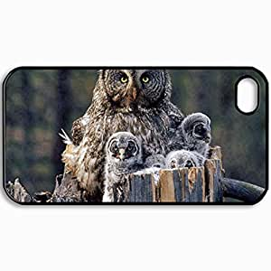 Personalized Protective Hardshell Back Hardcover For iPhone 4/4S, Owl Design In Black Case Color