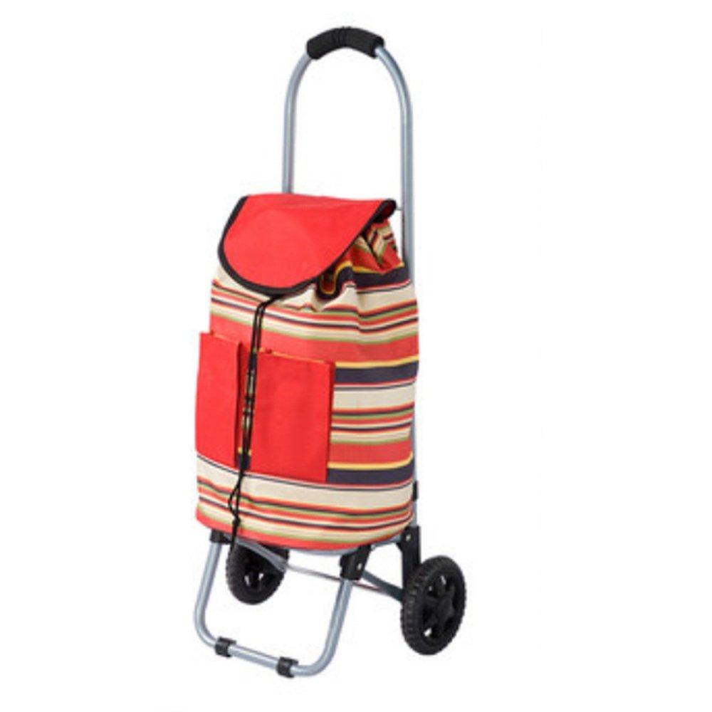 NAN ショッピングトロリー、トレンディーフォールディング、折りたたみ式プッシュ、プルカートパープルフラワー、レッドストライプ) トレーラー (色 : Red stripes) B07DZBD8PN Red stripes Red stripes