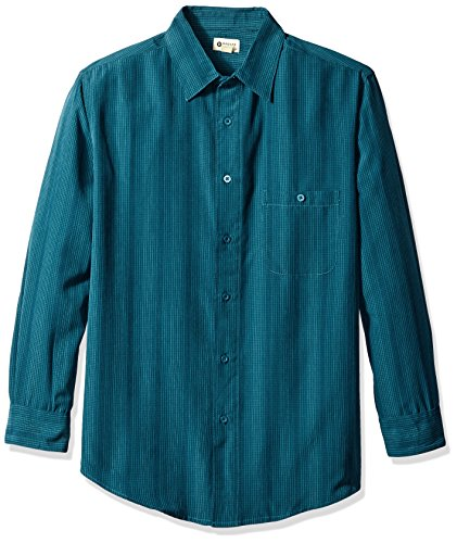 Haggar Men's Long Sleeve Microfiber Woven Shirt, Poseidon, Small