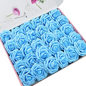 DerBlue 60pcs Artificial Roses Flowers Real Looking Fake Roses Artificial Foam Roses Decoration DIY for Wedding Bouquets Centerpieces,Arrangements Party Baby Shower Home Decorations 10