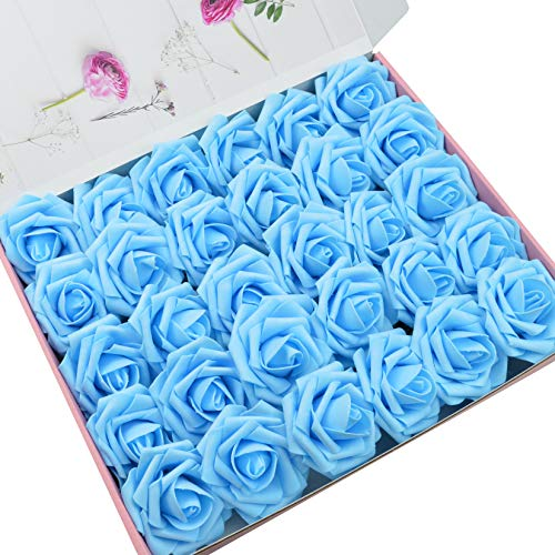 DerBlue 60pcs Artificial Roses Flowers Real Looking Fake Roses Artificial Foam Roses Decoration DIY for Wedding Bouquets Centerpieces,Arrangements Party Baby Shower Home Decorations (Blue)