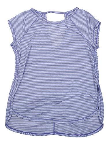 Calvin Klein Striped Open Back Athletic Performance T-Shirt (Purple Rain Combo, X-Large)