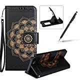 Rope Leather Case for iPhone 7 Plus,Strap Wallet Case for iPhone 7 Plus,Herzzer Bookstyle Classic Elegant Mandala Flower Pattern Stand Magnetic Smart Leather Case with Soft Inner for iPhone 7 Plus 5.5 inch + 1 x Free Black Cellphone Kickstand + 1 x Free Black Stylus Pen - Black