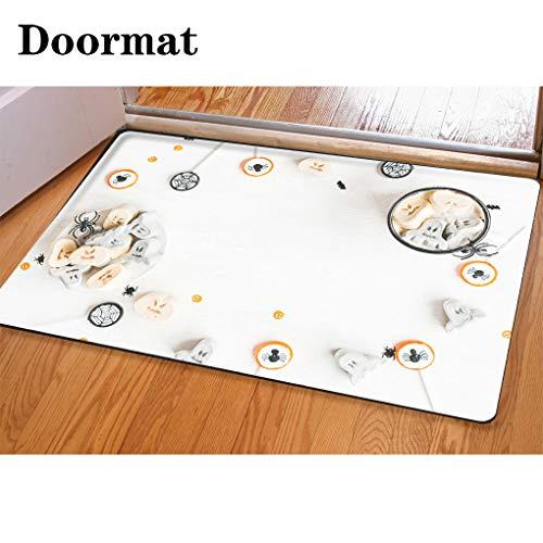 HooMore 3D Printing and Dyeing,Bathroom Carpet, Door mat,Hot Chocolate for Halloween Flat Lay top View Flannel Foam Shower mat, Absorbent Kitchen Door Carpet ()