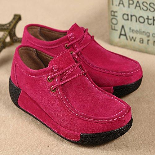 Loafers Red suo Comode Moda Scarpe Mocassini Da Z Guida In Scamosciata Rose Pelle Donna wx8qOd0