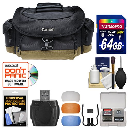 Canon 10EG Deluxe Digital SLR Camera Case - Gadget Bag with 64GB Card + Flash Diffusers Kit for EOS 6D, 7D, 77D, 80D, Rebel T6, T6i, T6s, T7i, SL1, SL2