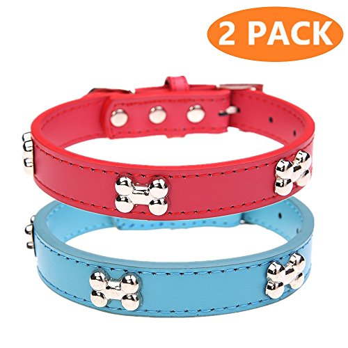 Leather Dog Collars 2 Pack Collar Set with Bone Charm for Girls Boys by KOOLTAIL (Dog Bone Collar Charm)