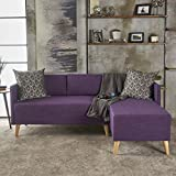 Andresen Mid Century Modern Muted Purple Fabric Chaise Sectional