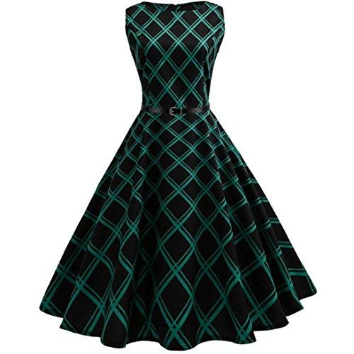 Vintage Floral Dress, AgrinTol Women Casual Vintage Floral Bodycon Plaid Sleeveless Evening Party Dress