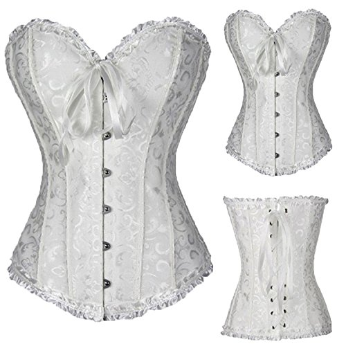 spyman Lace up Boned Overbust Costume Steampunk Waist Corset Dress Body Trainer Shapewear Top Plus Size White1 ()
