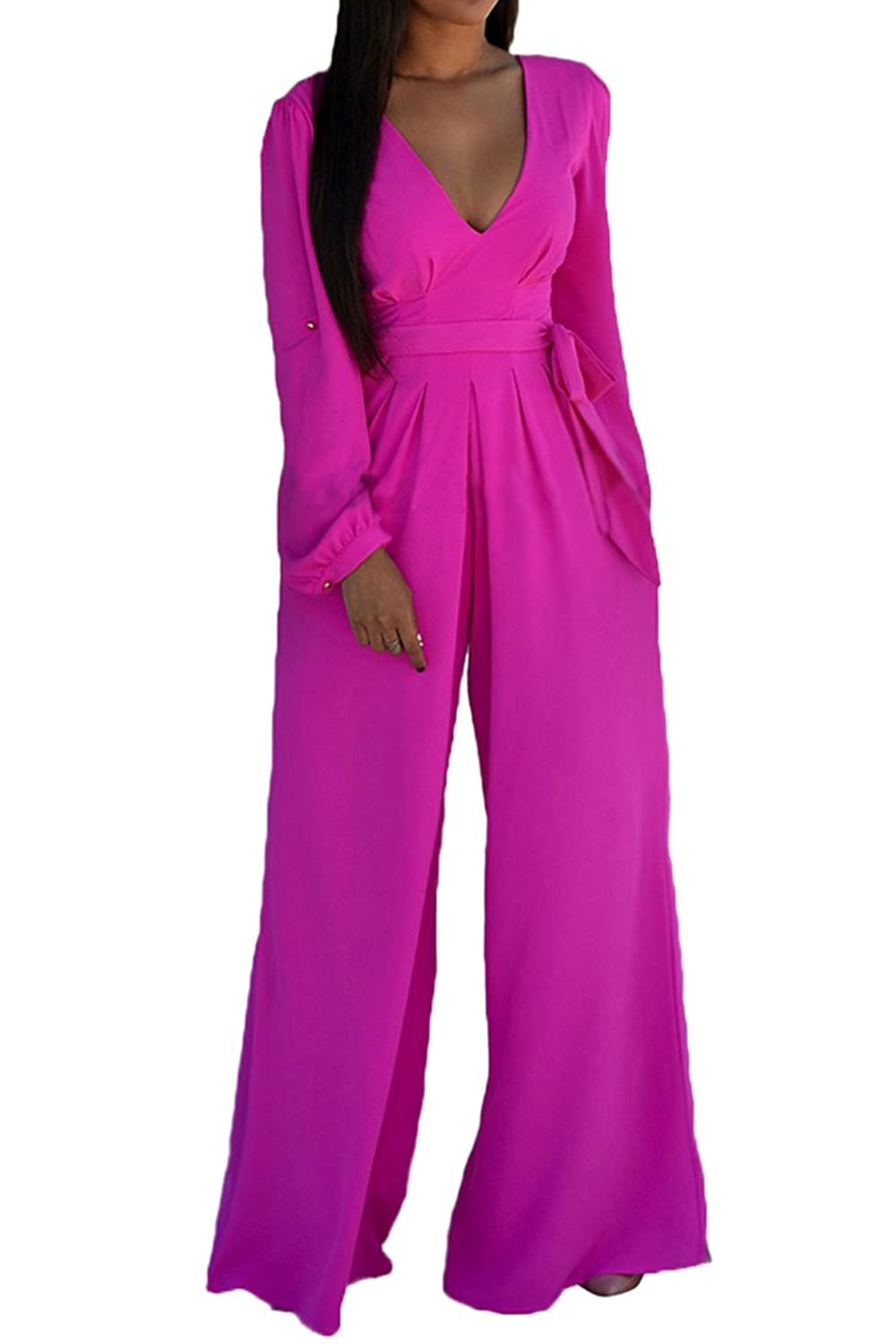 Fixmatti Women Fashion Loose Long Sleeve Flares Jumpsuits Rompers with Belt