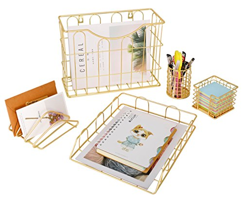 Superbpag Office 5 in 1 Desk Organizer Set Gold- Letter Sorter, Pencil Holder, Stick Note Holder, Hanging File Organizer and Letter Tray