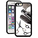Hair Brush Phone Case Apple iPhone Shockproof Impact Hard Soft Case Cover Scissors Comb Brush Hair Dresser (Black for iPhone 7 Plus)