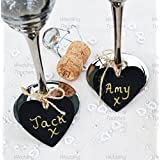 Mini Heart Wooden Chalkboard Pendant Perfect for Vintage Wedding Tables Place Names & Decoration (50) by Wedding Touches