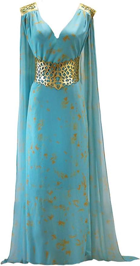 Blue Warrior Queen Daenarys Targaryen Cosplay Game of Thrones Costume-01590