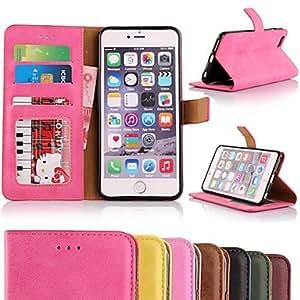 GDW tirón del libro de caja de cuero de la PU con el soporte y la ranura de la tarjeta para el iphone 6 más (colores surtidos) , Purple