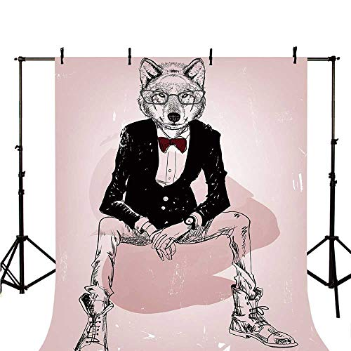 (Indie Stylish Backdrop,Hipster Portrait of Sitting Wild Wolf with Glasses Smart Casual Outfit for Photography,118