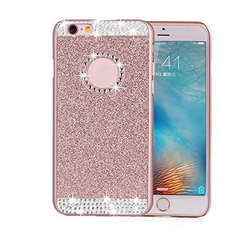 Price comparison product image Berry Accessory (TM) Luxury Hybrid Beauty Crystal Rhinestone With Gold Sparkle Glitter PC Hard Protective Diamond Case Cover For iPhone 5 5s SE (Rose Gold + Bling)