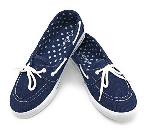 EASY21 Canvas Lace Up Flat Slip On Boat Comfy Round Toe Sneaker Tennis Shoe,Denim,Size 8.5