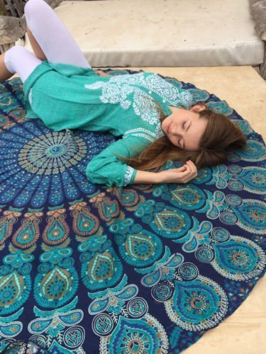 Blue Round Beach Towel Mandala Roundie Beach Throw Indian Tapestry Hippie Yoga Mat Decor Beach Blanket Towel yoga mat tapestry wall hanging (Blue and Green)