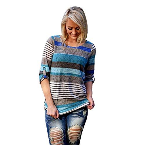 XUANOU Women Loose Casual Stripe Three-quarters Sleeve Blouse Tops T-Shirt (Large, Blue)