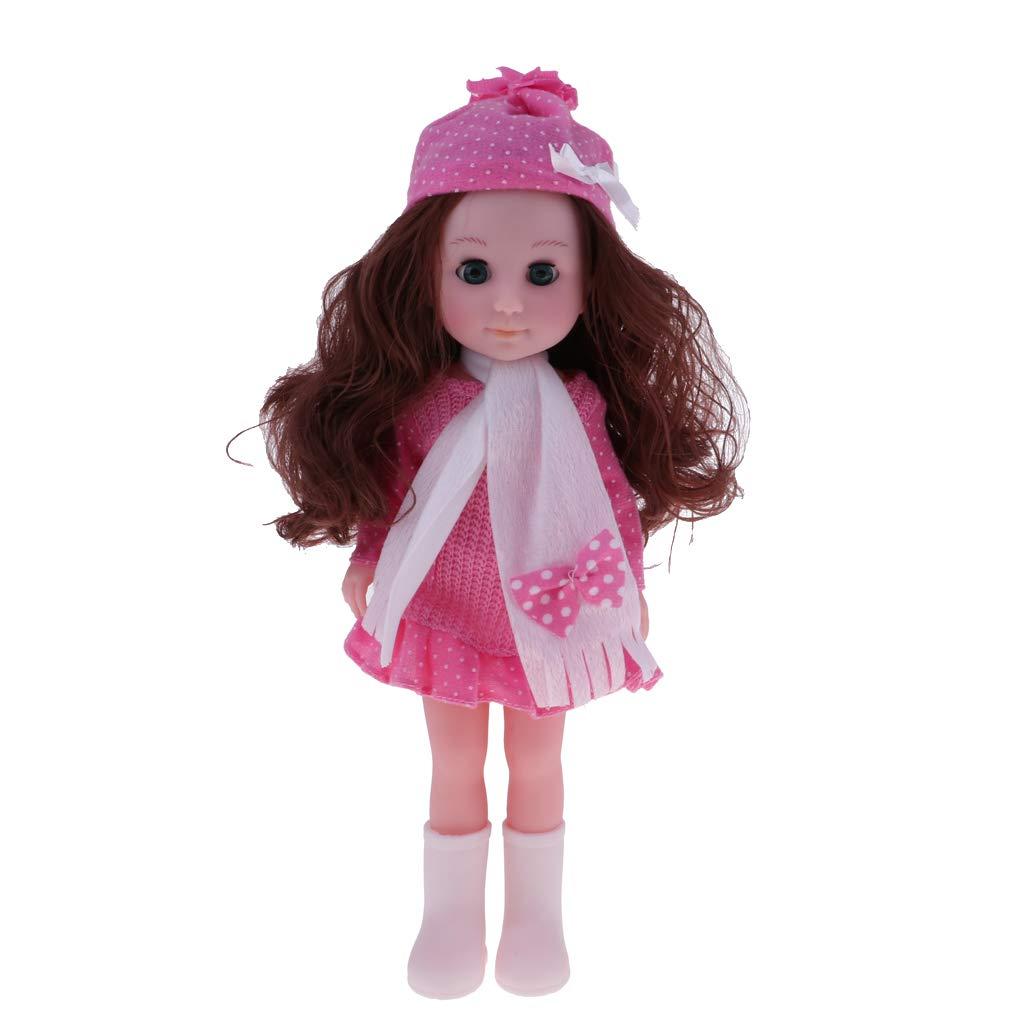 P Prettyia 30cm Lifelike Vinyl Reborn Baby Girl Doll with Golden Curly Hair & Sweater Skirt Model