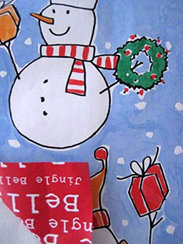 Christmas Holiday Jingle Bell Buddies Snowman Gift Wrapping Paper Reversible 3 Rolls 32 Sq Ft ()