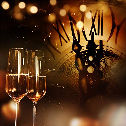 Laeacco Happy New Year 2019 Backdrop Vinyl 10x10ft Retro Color Tone Goblets Champagne Vintage Clock Dial Countdown Photography Background Xmas Party Banner Child Kids Baby Portrait Shoot ()