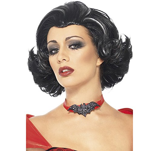 Smiffy's Women's Short Black Wig with White Streaks, One Size, Bijou Boudoir Vampiress Wig, 5020570246245 -