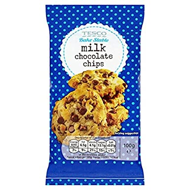 Tesco Milk Chocolate Chips 100g Amazoncouk Grocery